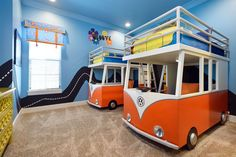 Far out! Kids can go on tour in this groovy The Beatles-themed bedroom featuring two VW bus bunk beds located inside 7431 Gathering Ct in Reunion Resort.