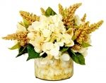 Cream Hydrangea and Heather in Labeled Vase