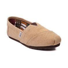 Shop for Womens TOMS Classic Burlap Slip-On Casual Shoe, Natural, at Journeys Shoes. This Classic Burlap Slip-On from TOMS features the famous TOMS toe stitch and elastic V, cushioned suede insole, latex arch, and one piece mixed rubber outsole.