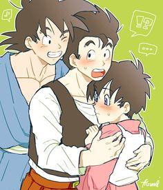 Videl, Gohan, and Goku