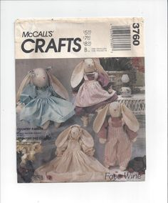 McCall's 3760 Crafts Pattern for Stuffed Bunny Rabbits, 3 Sizes, Clothes, FACTORY FOLDED, UNCUT, Faye Wine, Country Rabbits, Vintage Pattern by VictorianWardrobe on Etsy
