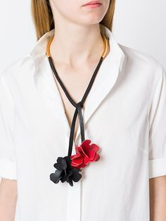 Marni leather flower necklace