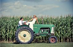 glad to see we aren't the only ones riding on tractors on our wedding day :)