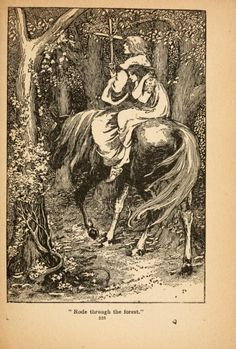 """Illustration from """"The Marsh King's Daughter"""" in """"Fairy Tales of Hans Christian Andersen"""" illustrated by Helen Stratton. Published around 1908.From: Archive.org."""