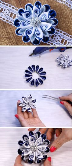 Kanzashi Flower DIY Tutorial - Design Peak You are in the right place about DIY Fabric Flowers wedding Here we offer you the most beautiful pictures about the DIY Fabric Flowers tulips you are looking Diy Ribbon Flowers, Ribbon Flower Tutorial, Kanzashi Tutorial, Ribbon Art, Ribbon Crafts, Flower Crafts, Fabric Flowers, Flower Diy, Diy Tutorial