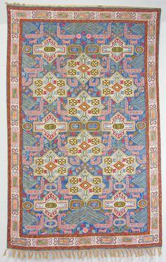 190x118 cm orient handbestickte Kettenstich Kaschmir Teppich Wandbehang kelim N2