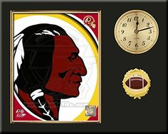 Washington Redskins Team Logo Photo Inserted In A Gold Slide In Frame & Mounted On A Plaque With Arabic Clock -Awesome & Beautiful-Must For Any Fan! Art and More, Davenport, IA http://www.amazon.com/dp/B00NHNMMOY/ref=cm_sw_r_pi_dp_.l5wub0BA56MV