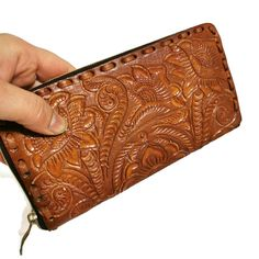 Women's Wallet, Leather, Vintage, Handmade , Hand Tooled Leather, Boho, Bohemian, Large Wallet , for Cards, Gift for Her by aymxleather on Etsy Leather Tooling, Cow Leather, Cowhide Leather, Leather Wallet, Large Wallet, Wallets For Women Leather, Cosmetic Pouch, Little Bag, Leather Design