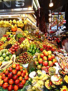 Beautiful array of colours in the La Boqueria food market, Barcelona