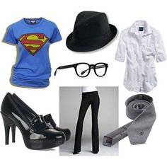 Women's Clark Kent Halloween Costume-cool idea and not spending a ton of money