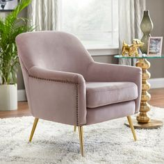 Mid Century Armchair, Velvet Armchair, Upholstered Accent Chairs, Glider And Ottoman, Wood Arm Chair, Chair Types, Barrel Chair, Furniture Deals, Living Room Chairs