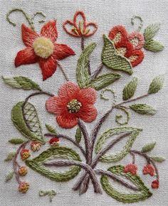 LOWELL SAMPLER Jacobean Vtg FINISHED Elsa Williams Kit Floral CREWEL Embroidery