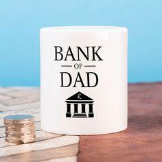 Personalised Ceramic Money Box - Bank Of Dad | GettingPersonal.co.uk