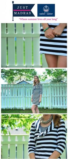 Just Madras Sailor-Sailor 3/4 Sleeve Dress