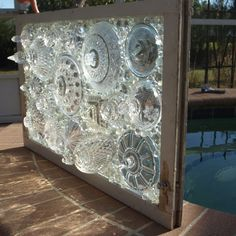 """Stained Glass Mosaic Repurposed Window """"Don't Flip Your Lid"""""""