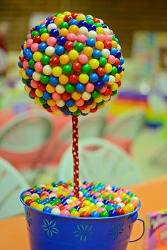 Gumball topiary at a Willy Wonka birthday party!   See more party ideas at CatchMyParty.com!