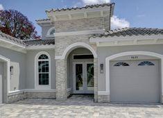 Stucco House Colors, White Stucco House, Stucco And Stone Exterior, White Exterior Houses, Stucco Homes, Exterior Paint Colors For House, Paint Colors For Home, Exterior Colors, Florida Homes Exterior