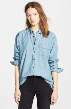 Madewell Chambray Boyfriend Shirt ~ I can wear this shirt with everything. I cuff the sleeves up neat and tuck it in loose. I wear layers of necklaces and bracelets. This looks terrific with super skinny jeans and sneaks. Or with a striped pencil skirt. Or with black leather pants and pumps.