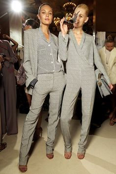 Pyjama Party!    Elegant PJ pants and dressing-gown jackets in slouchy silks and satins have a relaxed, after-hours glamour, while Stella McCartney's block-printed silky pyjamas offer a relaxed alternative to her traditional trouser suits.