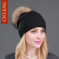 Autumn Winter Knitted Wool Hats For Women Fashion Pompon Beanies Fur Hat  Female Warm Caps With Natural Genuine Raccoon Fur Cap 7490dd6a275e