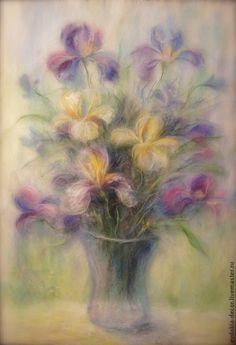 Купить Цветы - Ирисы (картина из шерсти) - цветы, картина в подарок, картина, на стену, для дома и интерьера