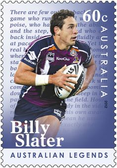 BILLY SLATER ~ (born 18 June 1983 in Nambour, Queensland) is an Australian professional rugby league player for the Melbourne Storm of the National Rugby League (NRL). With the Kangaroos he was the 2008 World Cup's top try-scorer and player of the tournament and won the 2008 Golden Boot Award as the World player of the year.