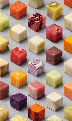 98 perfectly-arranged cubes of food are visually delicious