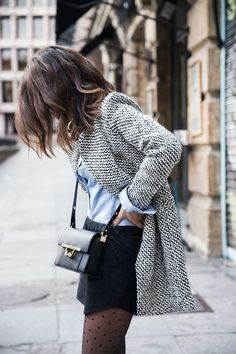 Skirt, denim shirt, knitted cardigan, bag and cute tights. Fall fashion ideas…