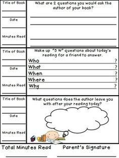 Weekly Reading Records with Daily Comprehension Responses (FREE ...