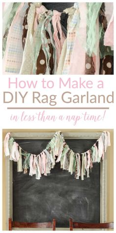 DIY Home Decor Inspiration : Illustration Description Seriously, I'm so crunched for time, but this rag garland takes no time at all! LOVE projects like this! -Read More – Rag Garland, Ribbon Garland, Fabric Garland, Fabric Banners, Diy Tassel Garland, Rag Curtains, Rag Banner, Diy Rag Bunting, Diy And Crafts