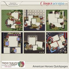 American Heroes Quickpages by Trixie Scraps Designs - Celebrate all your American Heroes with this super versatile, military-themed digital scrapbooking collection. Whether you have Army, Air Force, Marine or Navy photos to scrapbook, American Heroes has got it covered! There's also plenty of red, white and blue, making this kit perfect for Memorial Day, Independence Day, and other patriotic pages, too. This quickpage album includes six 12x12 quickpages, saved as 300 dpi PNG files.