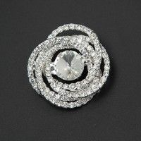 """Material: alloy+rhinestone Details: 3.5x3.3cm/ 1.37"""" x 1.29"""" Color: silver, as show Weight: approx."""