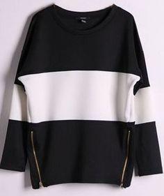 Shop Black Contrast White Long Sleeve Side Zip Sweatshirt online. Sheinside offers Black Contrast White Long Sleeve Side Zip Sweatshirt & more to fit your fashionable needs. Free Shipping Worldwide!