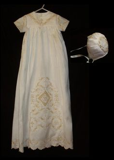 Golden Christening Gown... Embroidered with Gold Thread on Dupioni Silk, with Batiste Slip and Matching Dupioni Silk Bonnet.  www.SewLinda.com