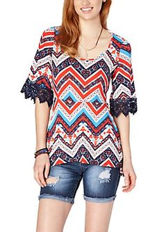image of Floral Chevron Crochet Sleeve Top