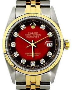 Rolex Datejust 18K Yellow Gold Stainless Steel 2-Tone Diamond Dial Mens 36mm Watch