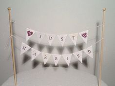 Cake Bunting/Cake Topper/Cake Banner/Flags. Just Married. Glitter Hearts - Wedding. by ConfettiCreationsAus on Etsy https://www.etsy.com/au/listing/161630447/cake-buntingcake-toppercake-bannerflags