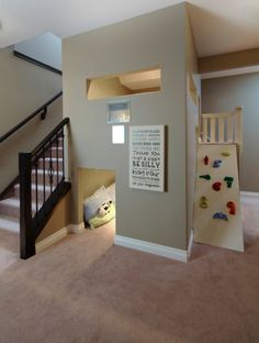 Will Love These Stairs Basement playroom Design Ideas, Pictures, Remodel and Decor Felts Felts Felts Knight - Check this out!Basement playroom Design Ideas, Pictures, Remodel and Decor Felts Felts Felts Knight - Check this out! Playroom Design, Playroom Ideas, Indoor Playroom, Basement Daycare Ideas, Playroom Rules, Kid Playroom, Indoor Playhouse, Dog Daycare, Basement Renovations