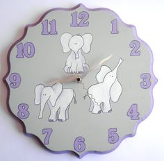 Purple Elephants clock - Children/ nursery wall clock - purple and gray clock for girls, hand painted. $35.00, via Etsy.