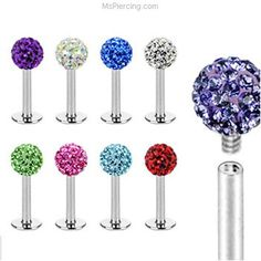 Internally threaded stainless steel labret stud with crystal paved ball, 16 ga #mspiercing #piercings