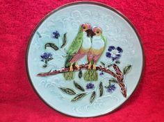 Antique Majolica Lovebirds on a Branch with Flowers Plate c.1800's, fm927 #ArtNouveau