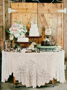 Dessert Table love the lace table cloth