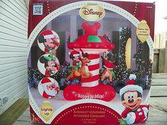 CHRISTMAS AIRBLOWN ANIMATED DISNEY MICKEY & MINNIE CAROUSEL LIGHTED INFLATABLE