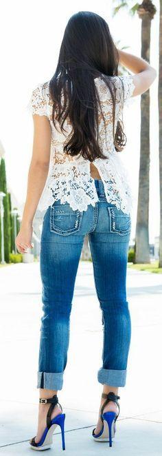 Lace top, Denim Jeans.