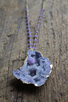 Gold Edged Purple Druzy Stone Necklace with Purple Chalcedony Stone Accent by JESDesignStudio on Etsy https://www.etsy.com/listing/225713962/gold-edged-purple-druzy-stone-necklace