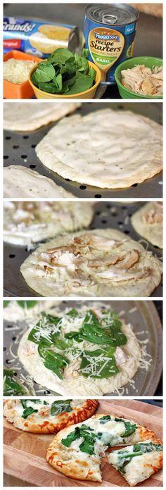 Chicken Alfredo Biscuit Pizzas.