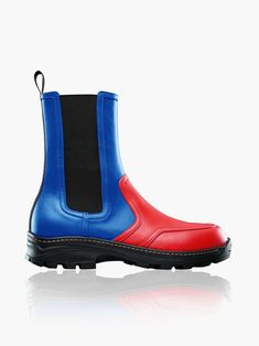 Rubber Rain Boots, Moncler, Red And Blue, Heels, Short Boots, Leather Ankle Boots, Patent Leather, Toe, Shopping