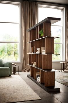 Buy online Hakkasan By elite to be, double face bookshelf with revolving wooden partitions Minimalist Bookshelves, Modern Bookshelf, Bookshelf Design, Bookshelf Decorating, Decorating Ideas, Living Room Divider, Living Room Decor, Wooden Partitions, Casa Loft