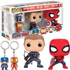 Civil War Pop! Vinyl Figure Set Hawkeye Spidey Cap & Iron Man : Forbidden Planet