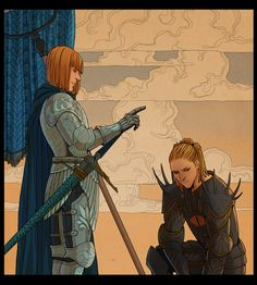 Eönwë ordering Sauron to go back to Valinor after Morgoth's defeat.